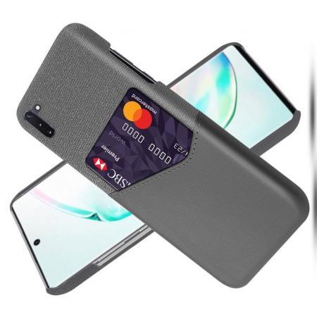 Тонкий Пластиковый PU Кожаный Чехол с Карманом для Карты для Samsung Galaxy Note 10 Серый