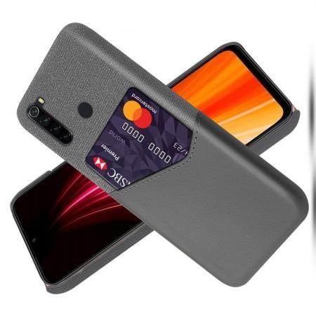 Тонкий Пластиковый PU Кожаный Чехол с Карманом для Карты для Xiaomi Redmi Note 8 Серый