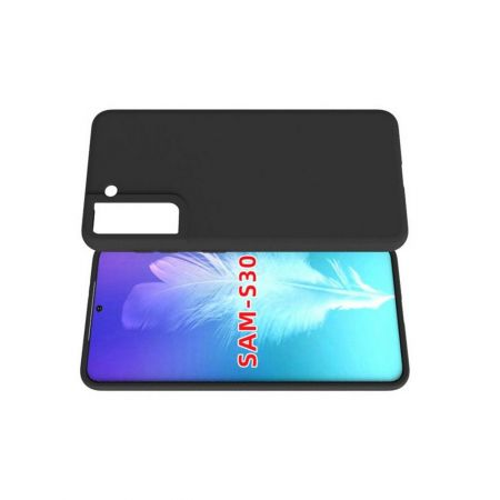 Тонкий TPU Бампер Силиконовый Чехол для Samsung Galaxy S21 Черный