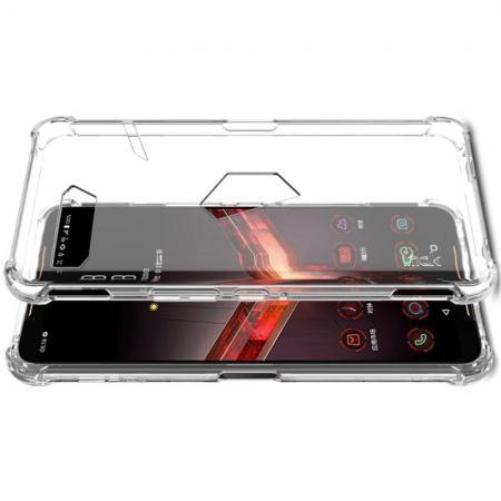 Ударопрочный бронированный IMAK чехол для Asus ROG Phone 2 с усиленными углами прозрачный + защитная пленка на экран