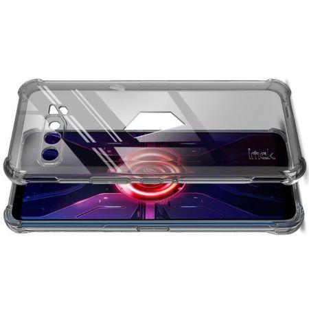 Ударопрочный бронированный IMAK чехол для Asus ROG Phone 3 ZS661KS с усиленными углами черный + защитная пленка на экран