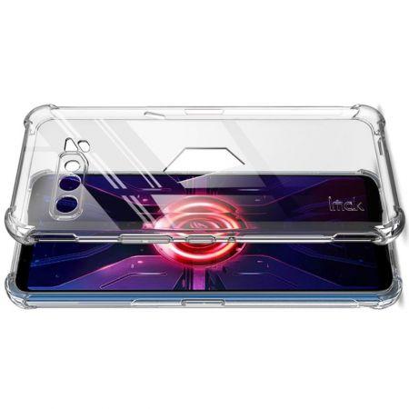 Ударопрочный бронированный IMAK чехол для Asus ROG Phone 3 ZS661KS с усиленными углами прозрачный + защитная пленка на экран