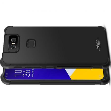Ударопрочный бронированный IMAK чехол для Asus Zenfone 6 ZS630KL с усиленными углами черный + защитная пленка на экран