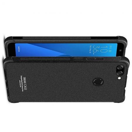 Ударопрочный бронированный IMAK чехол для Asus Zenfone Max Pro M2 ZB631KL с усиленными углами песочно-черный + защитная пленка на экран