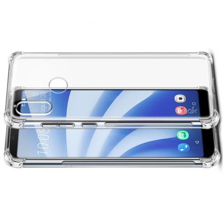 Ударопрочный бронированный IMAK чехол для HTC U12 life с усиленными углами прозрачный + защитная пленка на экран