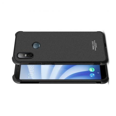 Ударопрочный бронированный IMAK чехол для HTC U12 life с усиленными углами песочно-черный + защитная пленка на экран
