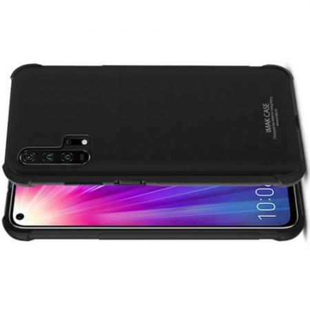 Ударопрочный бронированный IMAK чехол для Huawei Honor 20 Pro с усиленными углами черный + защитная пленка на экран