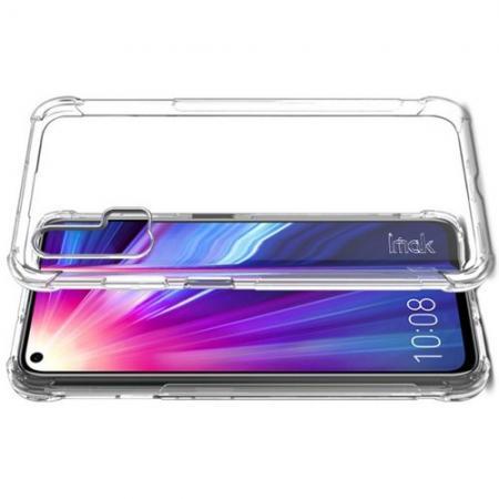 Ударопрочный бронированный IMAK чехол для Huawei Honor 20 Pro с усиленными углами прозрачный + защитная пленка на экран