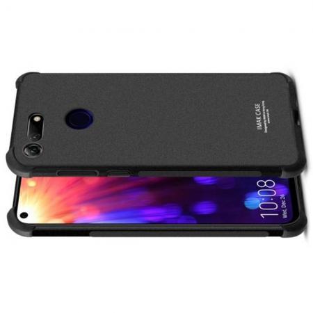 Ударопрочный бронированный IMAK чехол для Huawei Honor View 20 (V20) с усиленными углами песочно-черный + защитная пленка на экран