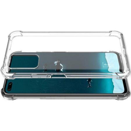 Ударопрочный бронированный IMAK чехол для Huawei Honor View 30 / View 30 Pro с усиленными углами прозрачный + защитная пленка на экран