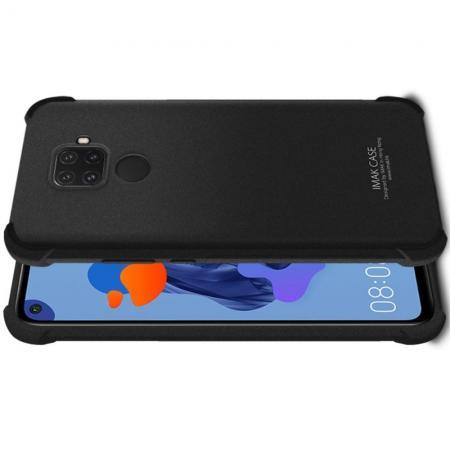 Ударопрочный бронированный IMAK чехол для Huawei Mate 30 Lite с усиленными углами песочно-черный + защитная пленка на экран