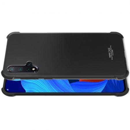 Ударопрочный бронированный IMAK чехол для Huawei Nova 5 с усиленными углами черный + защитная пленка на экран