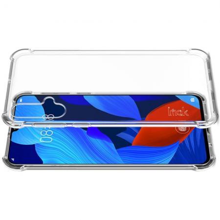 Ударопрочный бронированный IMAK чехол для Huawei Nova 5 с усиленными углами прозрачный + защитная пленка на экран