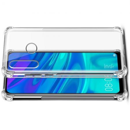 Ударопрочный бронированный IMAK чехол для Huawei P smart+ / Nova 3i с усиленными углами прозрачный + защитная пленка на экран