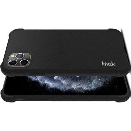 Ударопрочный бронированный IMAK чехол для iPhone 11 Pro Max с усиленными углами песочно-черный + защитная пленка на экран