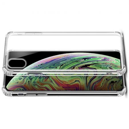 Ударопрочный бронированный IMAK чехол для iPhone XS Max с усиленными углами прозрачный + защитная пленка на экран