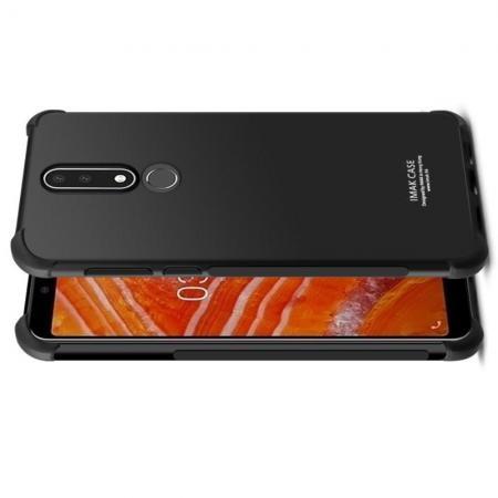 Ударопрочный бронированный IMAK чехол для Nokia 3.1 Plus с усиленными углами черный + защитная пленка на экран