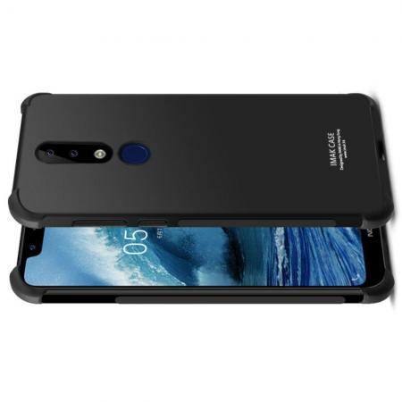 Ударопрочный бронированный IMAK чехол для Nokia 5.1 Plus с усиленными углами черный + защитная пленка на экран