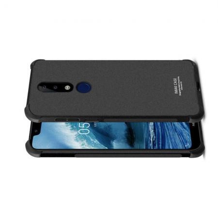 Ударопрочный бронированный IMAK чехол для Nokia 5.1 Plus с усиленными углами песочно-черный + защитная пленка на экран