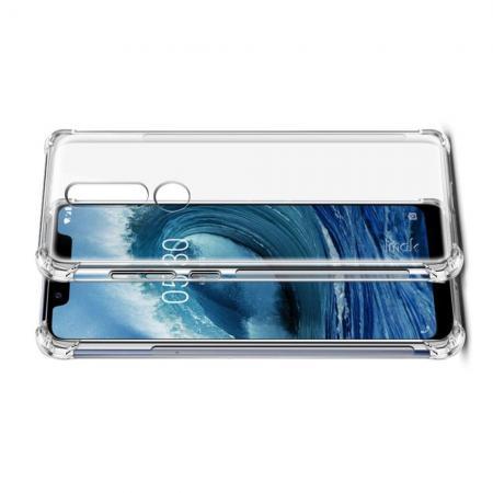 Ударопрочный бронированный IMAK чехол для Nokia 5.1 Plus с усиленными углами прозрачный + защитная пленка на экран