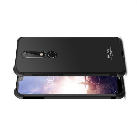 Ударопрочный бронированный IMAK чехол для Nokia 6.1 Plus с усиленными углами черный + защитная пленка на экран
