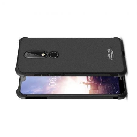 Ударопрочный бронированный IMAK чехол для Nokia 6.1 Plus с усиленными углами песочно-черный + защитная пленка на экран