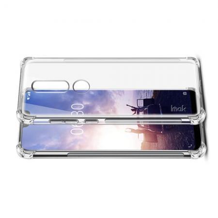 Ударопрочный бронированный IMAK чехол для Nokia 6.1 Plus с усиленными углами прозрачный + защитная пленка на экран