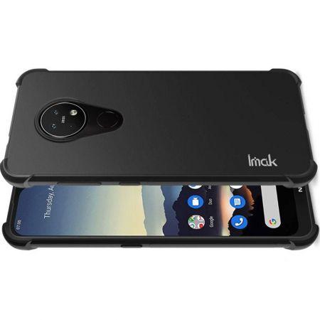 Ударопрочный бронированный IMAK чехол для Nokia 6.2 с усиленными углами черный + защитная пленка на экран