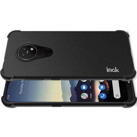 Ударопрочный бронированный IMAK чехол для Nokia 6.2 с усиленными углами песочно-черный + защитная пленка на экран