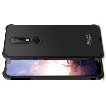 Ударопрочный бронированный IMAK чехол для Nokia 7.1 с усиленными углами черный + защитная пленка на экран
