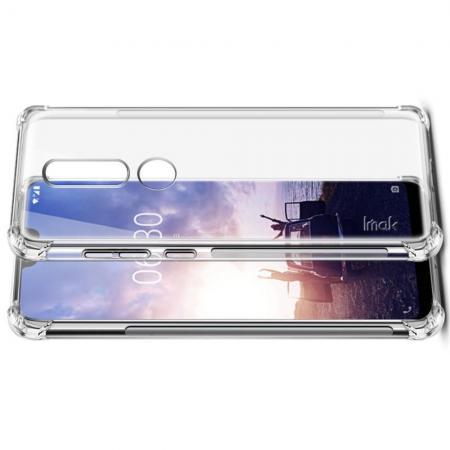 Ударопрочный бронированный IMAK чехол для Nokia 7.1 с усиленными углами прозрачный + защитная пленка на экран