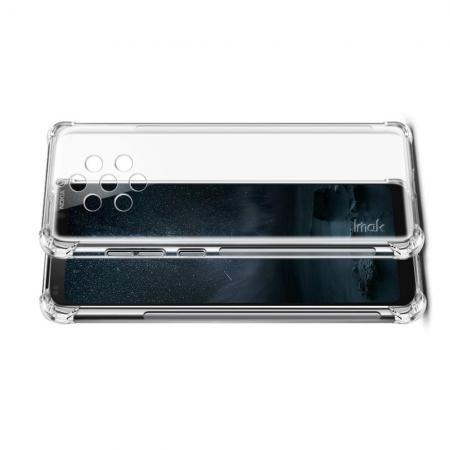 Ударопрочный бронированный IMAK чехол для Nokia 9 PureView с усиленными углами прозрачный + защитная пленка на экран