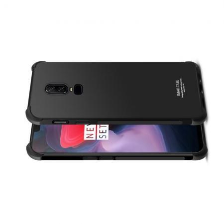 Ударопрочный бронированный IMAK чехол для OnePlus 6 с усиленными углами черный + защитная пленка на экран
