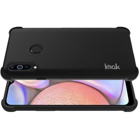 Ударопрочный бронированный IMAK чехол для Samsung Galaxy A20s с усиленными углами черный + защитная пленка на экран