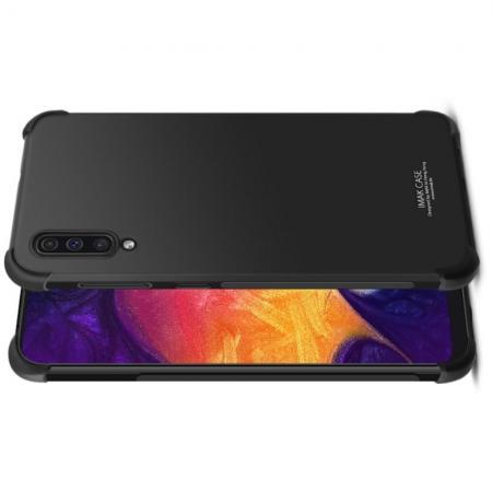 Ударопрочный бронированный IMAK чехол для Samsung Galaxy A50 с усиленными углами черный + защитная пленка на экран