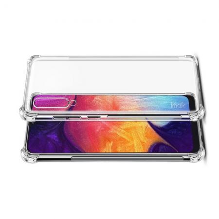 Ударопрочный бронированный IMAK чехол для Samsung Galaxy A50 с усиленными углами прозрачный + защитная пленка на экран