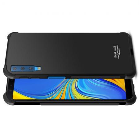 Ударопрочный бронированный IMAK чехол для Samsung Galaxy A7 2018 SM-A750 с усиленными углами черный + защитная пленка на экран