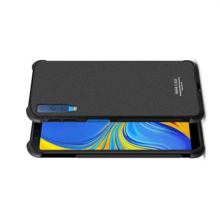 Ударопрочный бронированный IMAK чехол для Samsung Galaxy A7 2018 SM-A750 с усиленными углами песочно-черный + защитная пленка на экран
