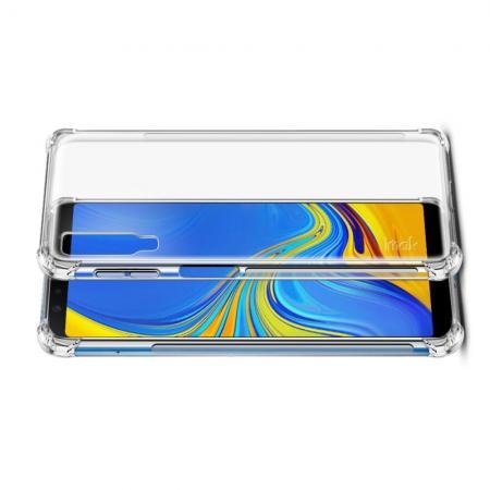 Ударопрочный бронированный IMAK чехол для Samsung Galaxy A7 2018 SM-A750 с усиленными углами прозрачный + защитная пленка на экран