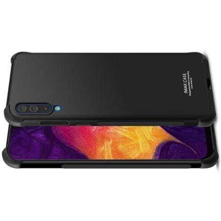 Ударопрочный бронированный IMAK чехол для Samsung Galaxy A70 с усиленными углами черный + защитная пленка на экран