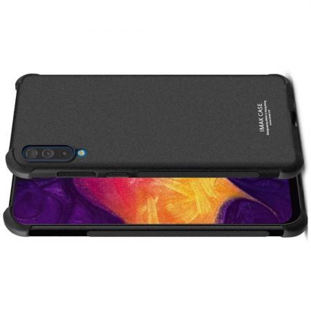 Ударопрочный бронированный IMAK чехол для Samsung Galaxy A70 с усиленными углами песочно-черный + защитная пленка на экран