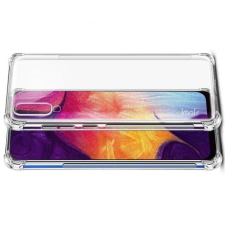 Ударопрочный бронированный IMAK чехол для Samsung Galaxy A70 с усиленными углами прозрачный + защитная пленка на экран