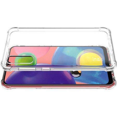 Ударопрочный бронированный IMAK чехол для Samsung Galaxy A70s с усиленными углами прозрачный + защитная пленка на экран