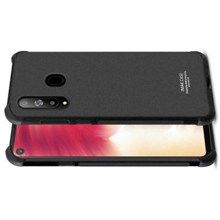 Ударопрочный бронированный IMAK чехол для Samsung Galaxy A8s с усиленными углами песочно-черный + защитная пленка на экран