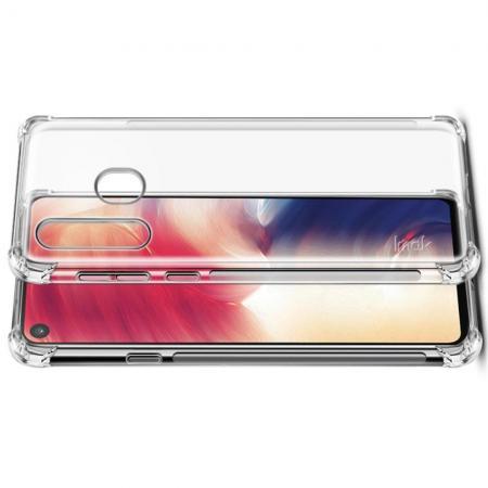 Ударопрочный бронированный IMAK чехол для Samsung Galaxy A8s с усиленными углами прозрачный + защитная пленка на экран
