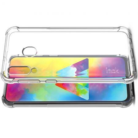 Ударопрочный бронированный IMAK чехол для Samsung Galaxy M30 с усиленными углами прозрачный + защитная пленка на экран