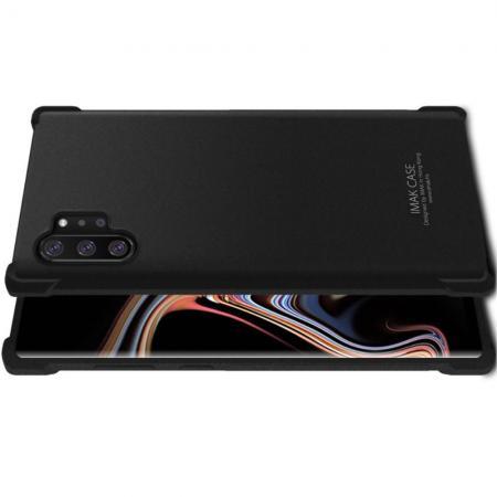 Ударопрочный бронированный IMAK чехол для Samsung Galaxy Note 10 Plus с усиленными углами песочно-черный + защитная пленка на экран