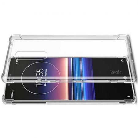 Ударопрочный бронированный IMAK чехол для Sony Xperia 1 с усиленными углами прозрачный