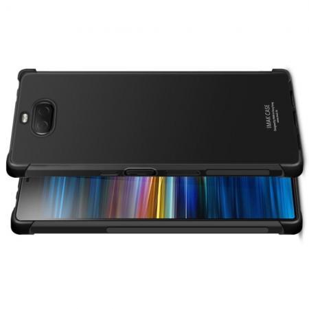 Ударопрочный бронированный IMAK чехол для Sony Xperia 10 Plus с усиленными углами черный + защитная пленка на экран