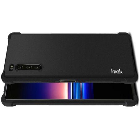 Ударопрочный бронированный IMAK чехол для Sony Xperia 5 с усиленными углами песочно-черный + защитная пленка на экран